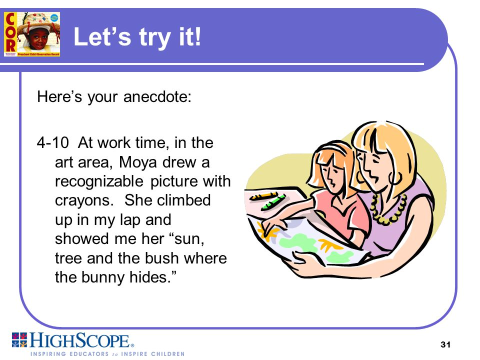 Let's try it! Here's your anecdote: