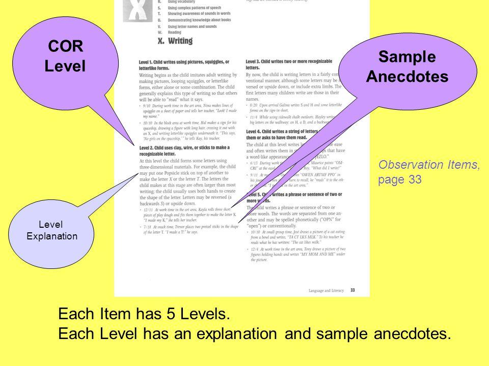 COR Level Sample Anecdotes Sample Anecdotes