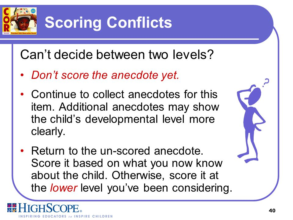 Scoring Conflicts Can't decide between two levels