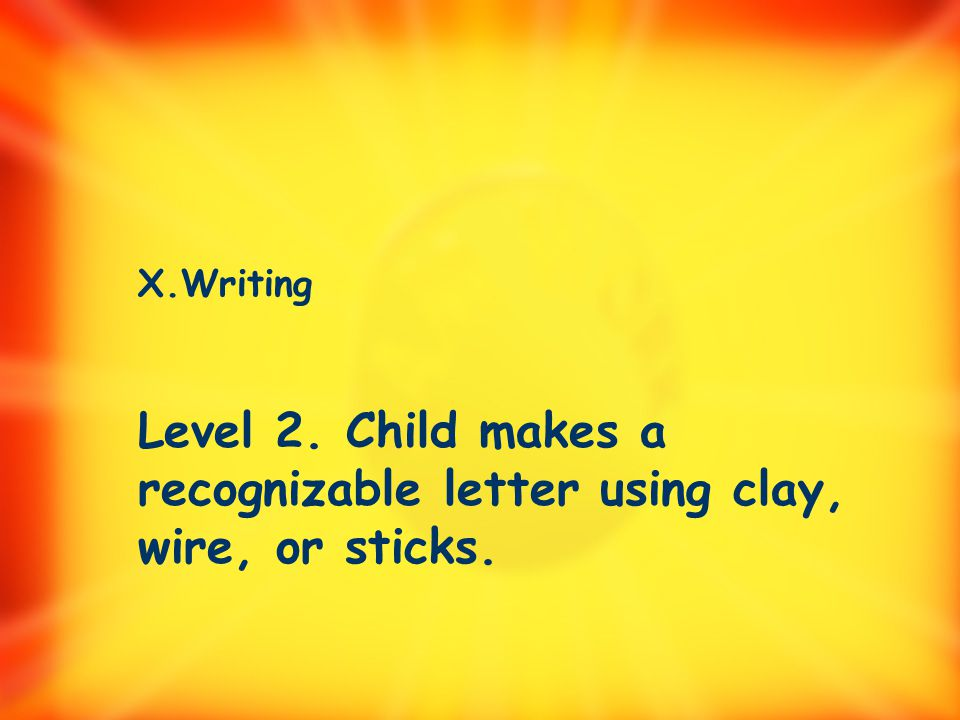 X. Writing 1. Child writes using pictures, squiggles, or letter-like forms. 2. Child makes a recognizable letter using clay, wire, or sticks.