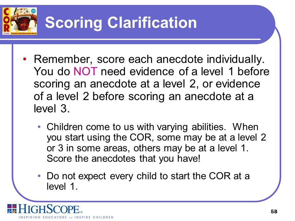 Scoring Clarification