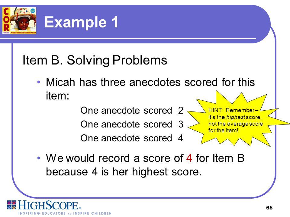Example 1 Item B. Solving Problems