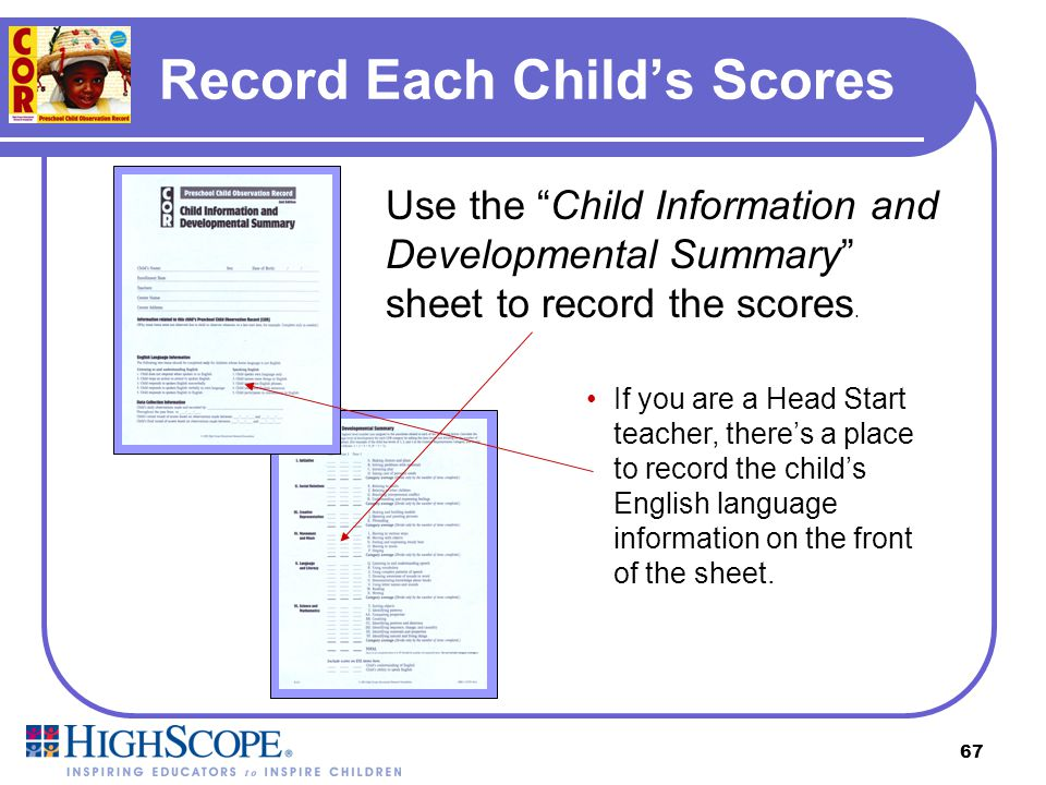 Record Each Child's Scores