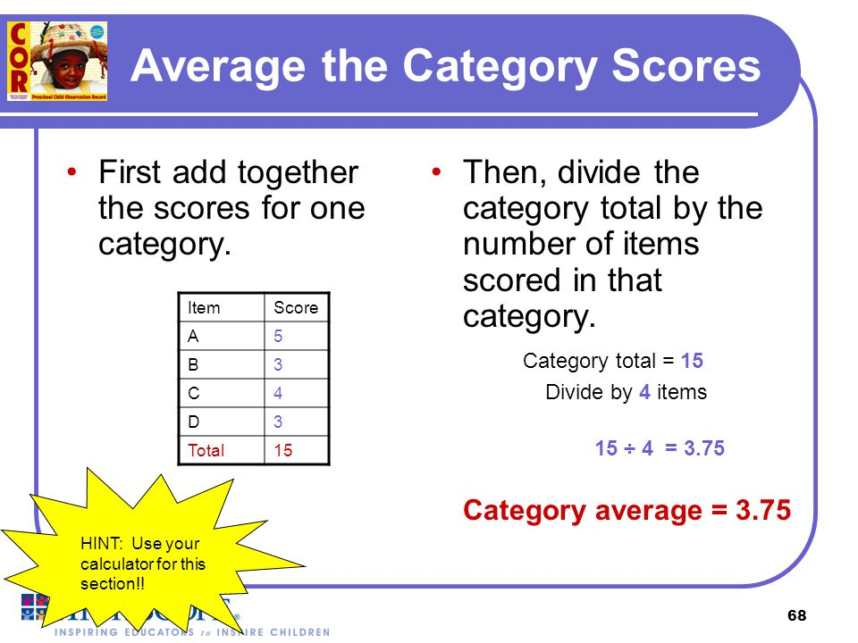 Average the Category Scores