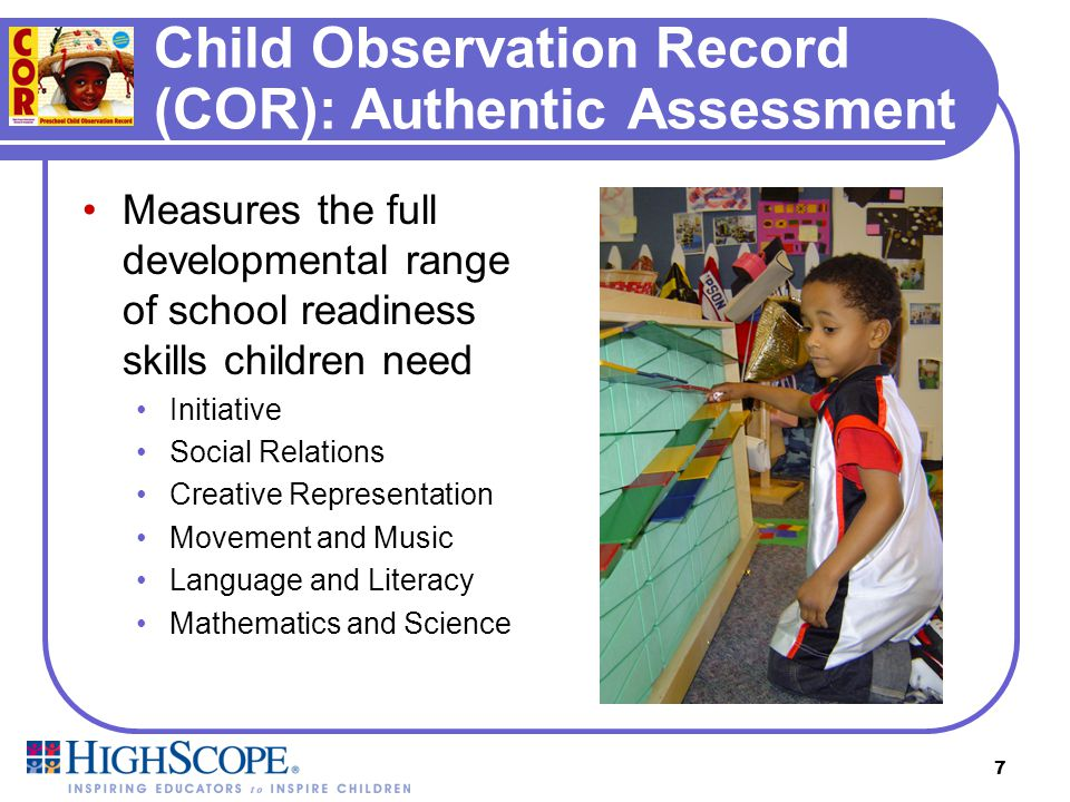 Child Observation Record (COR): Authentic Assessment