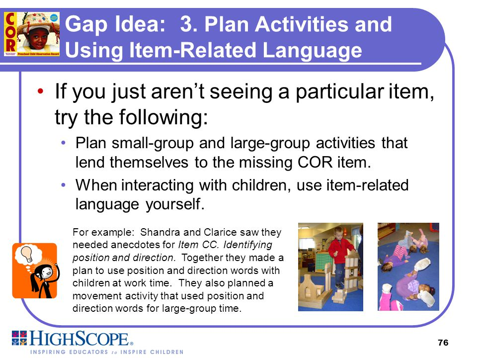 Gap Idea: 3. Plan Activities and Using Item-Related Language