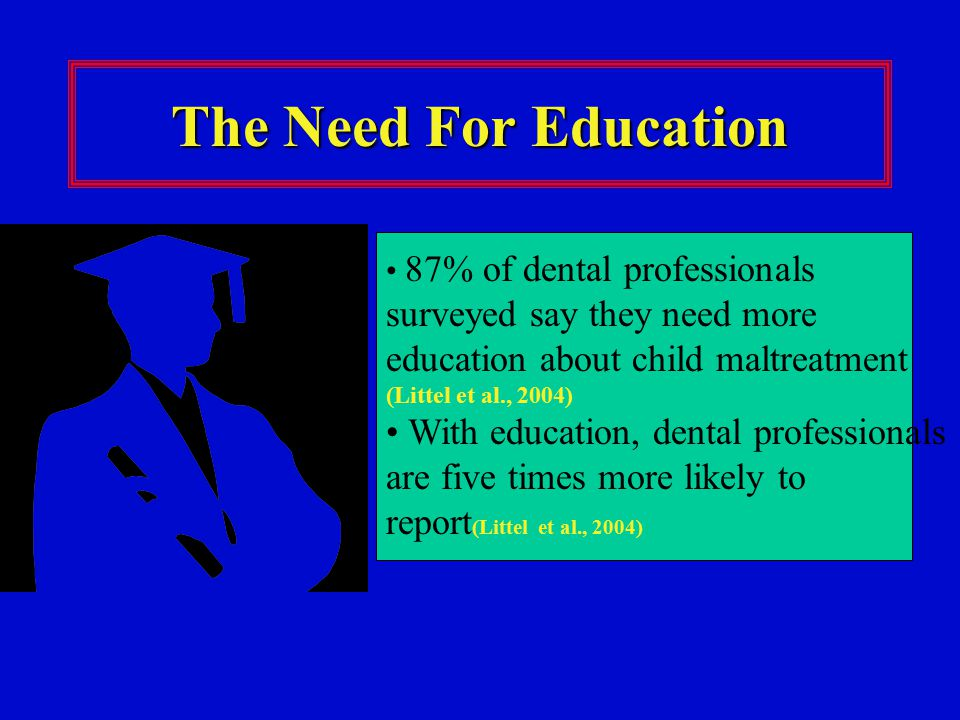 The Need For Education 87% of dental professionals surveyed say they need more education about child maltreatment (Littel et al., 2004)