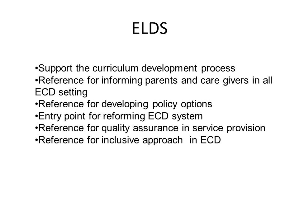 ELDS Support the curriculum development process