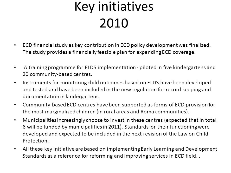 Key initiatives 2010