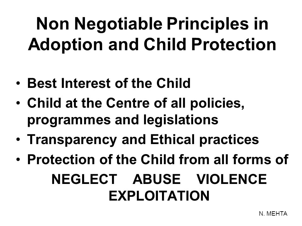 Non Negotiable Principles in Adoption and Child Protection