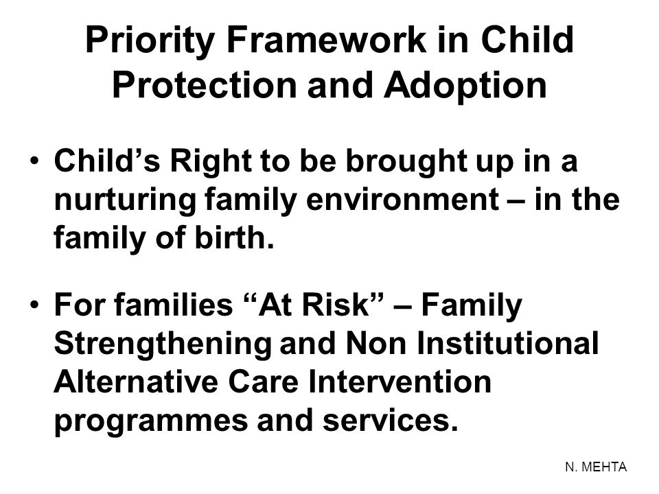 Priority Framework in Child Protection and Adoption