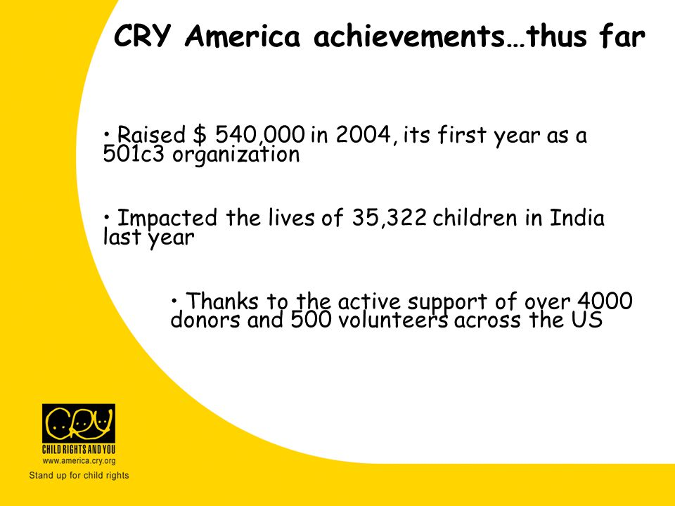 CRY America achievements…thus far