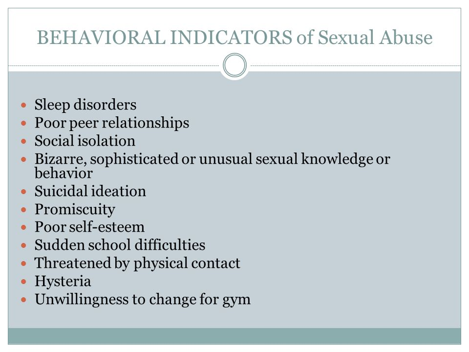 Behavioral Indicators of Sexual Abuse