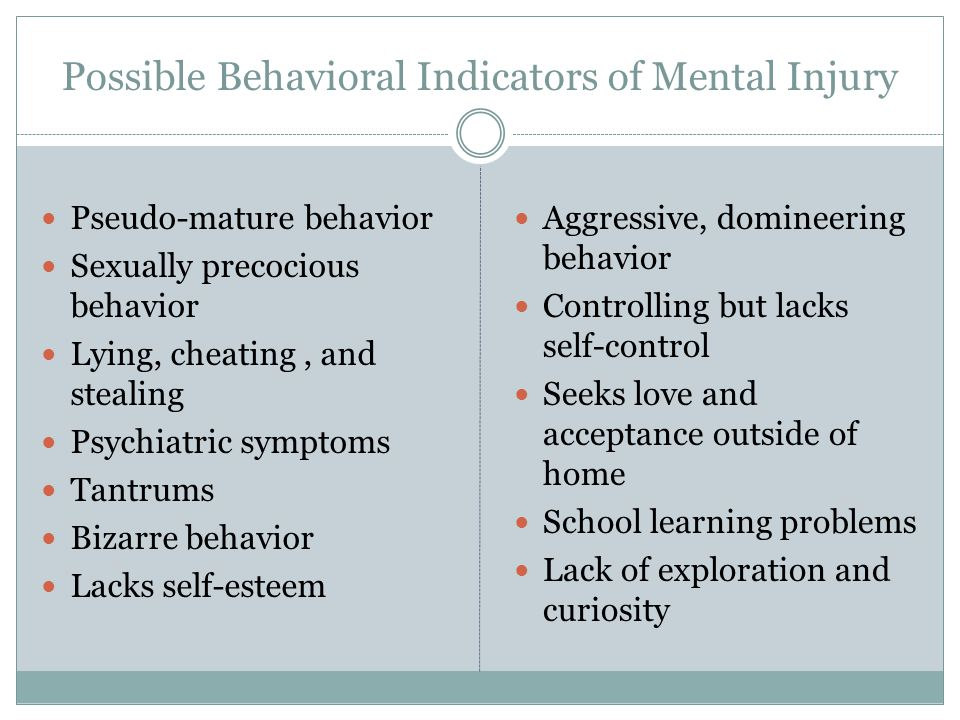 Possible Behavioral Indicators of Mental Injury