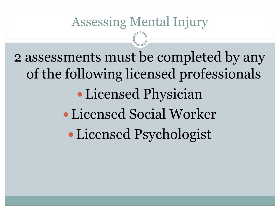 Assessing Mental Injury