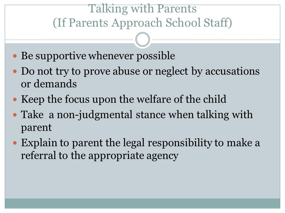 Talking with Parents (If Parents Approach School Staff)
