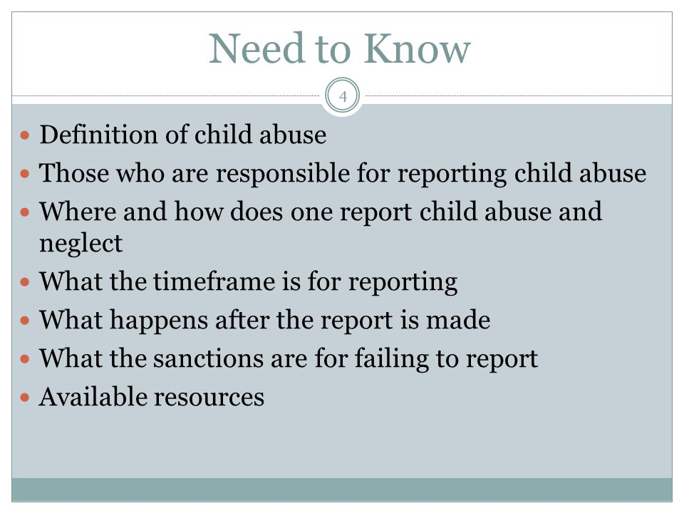 Need to Know Definition of child abuse