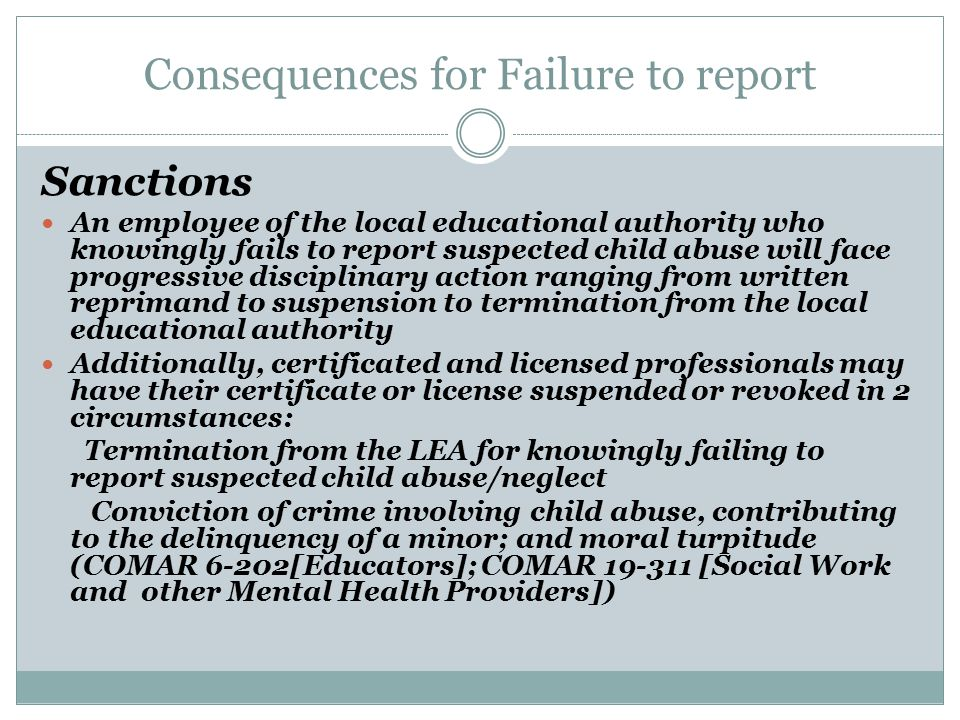 Consequences for Failure to report
