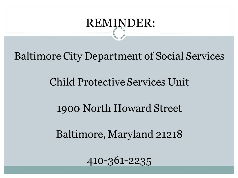 REMINDER: Baltimore City Department of Social Services