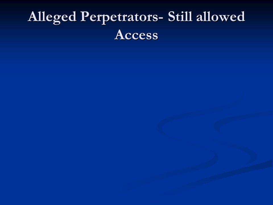 Alleged Perpetrators- Still allowed Access