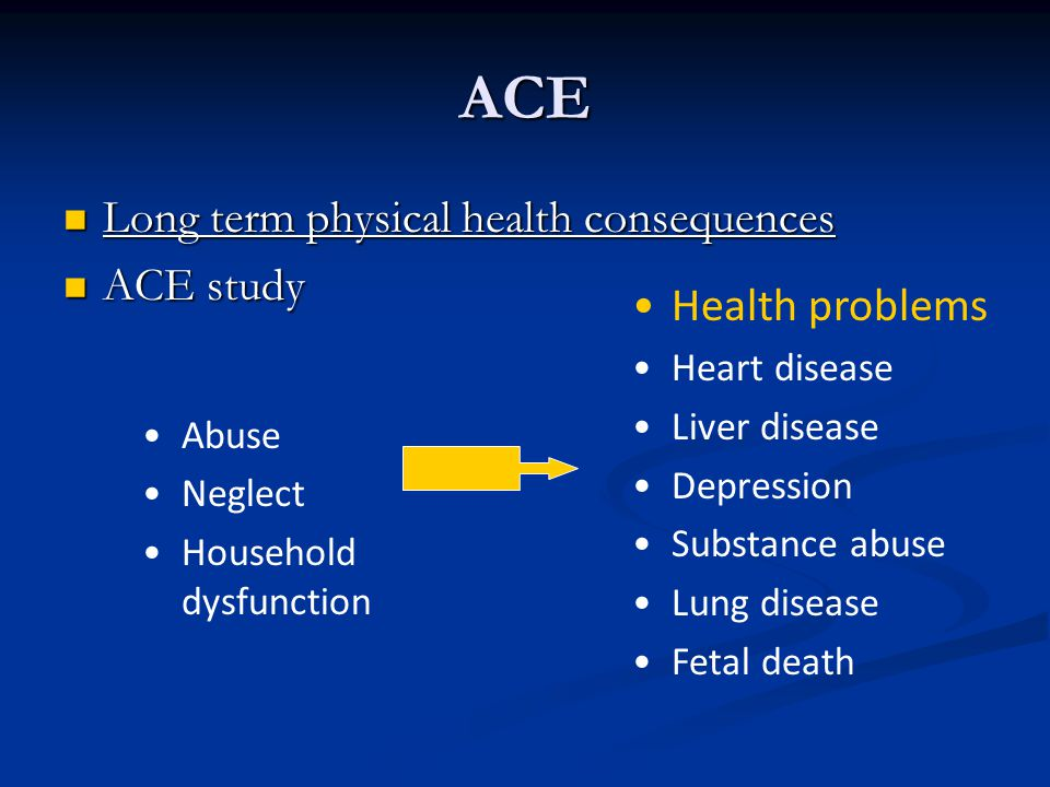 ACE Long term physical health consequences ACE study Health problems
