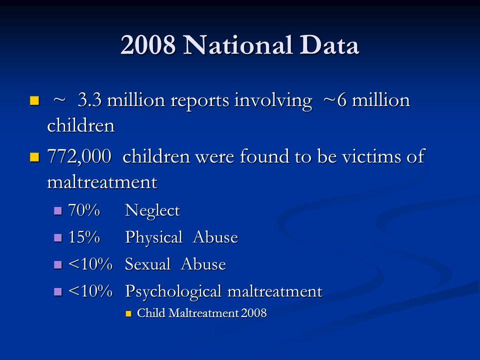 2008 National Data ~ 3.3 million reports involving ~6 million children