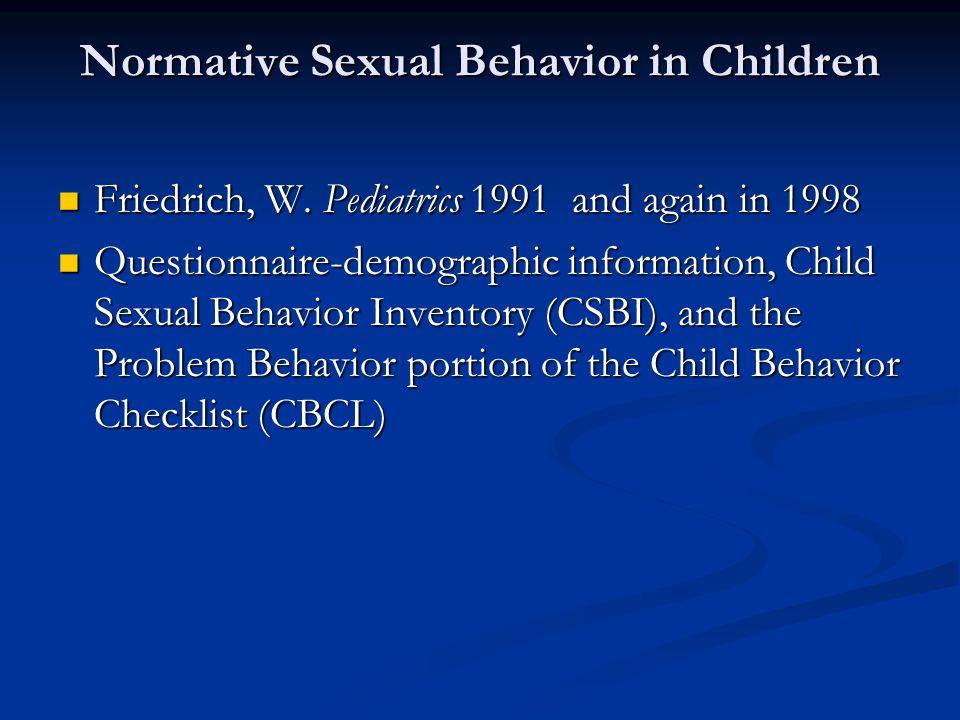 Normative Sexual Behavior in Children