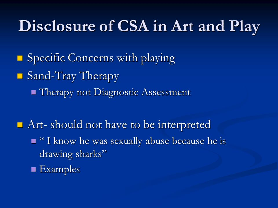 Disclosure of CSA in Art and Play