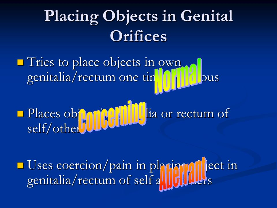 Placing Objects in Genital Orifices