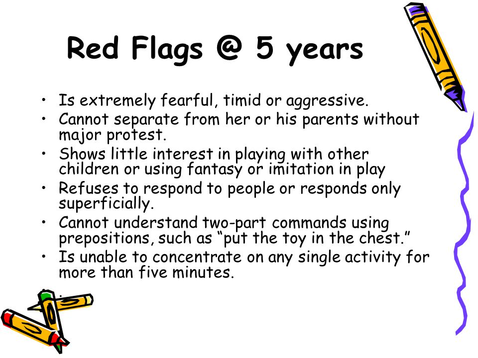 Red Flags @ 5 years Is extremely fearful, timid or aggressive.
