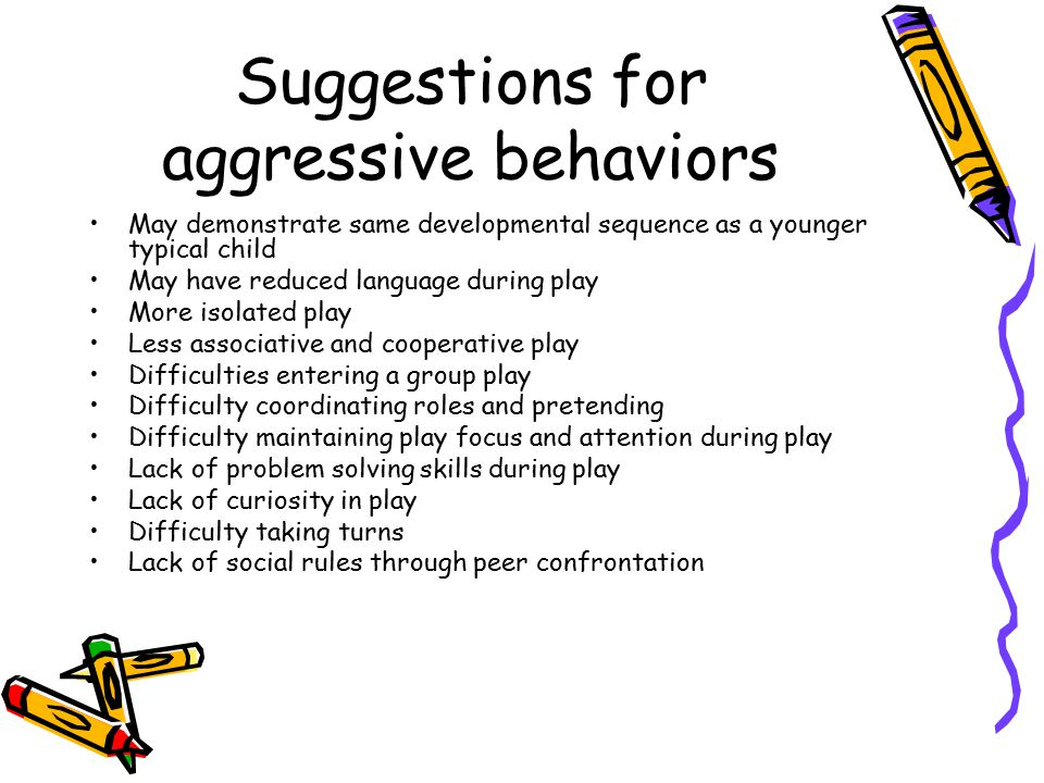 Suggestions for aggressive behaviors