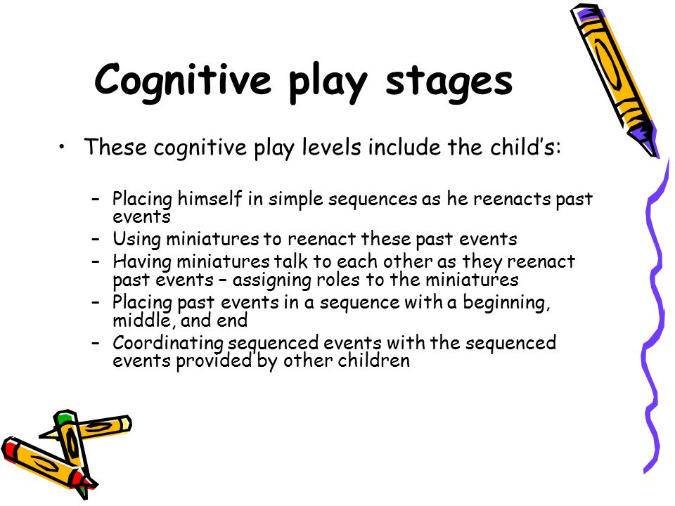 Cognitive play stages These cognitive play levels include the child's: