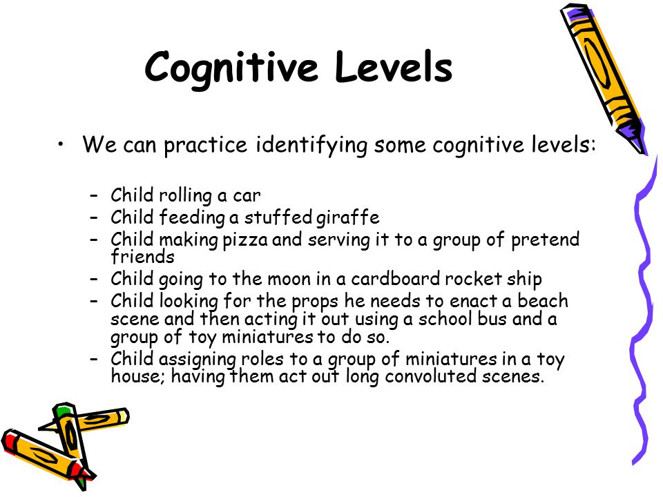 Cognitive Levels We can practice identifying some cognitive levels: