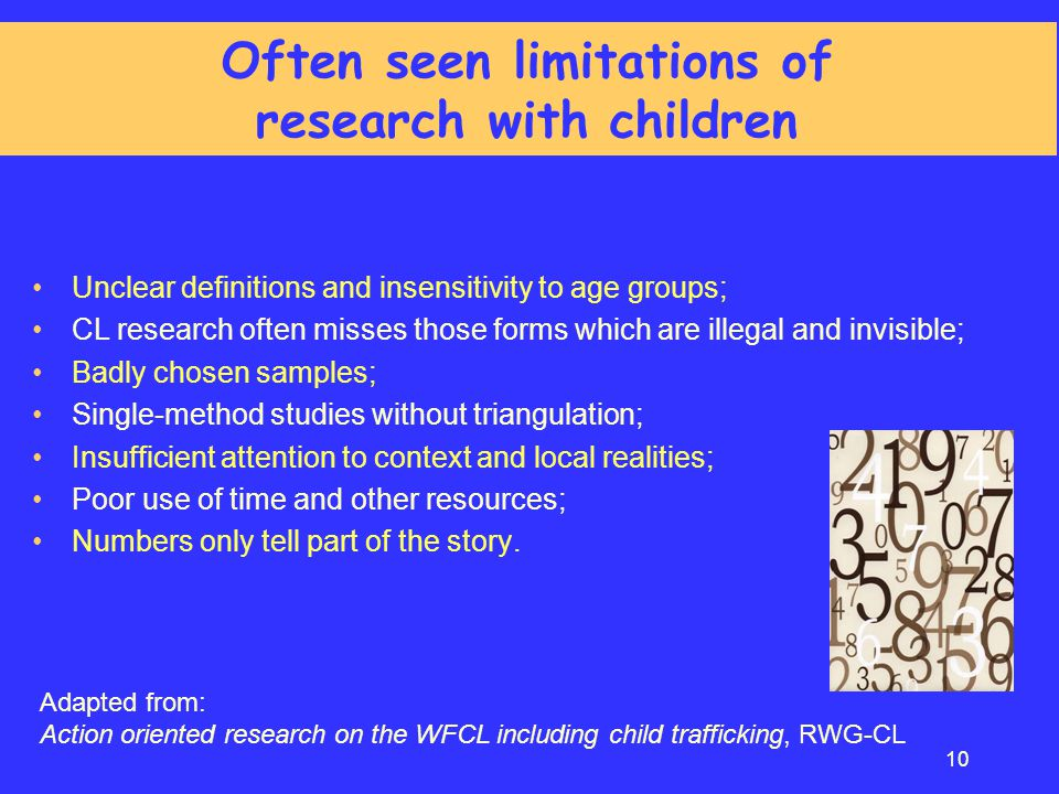 Often seen limitations of research with children