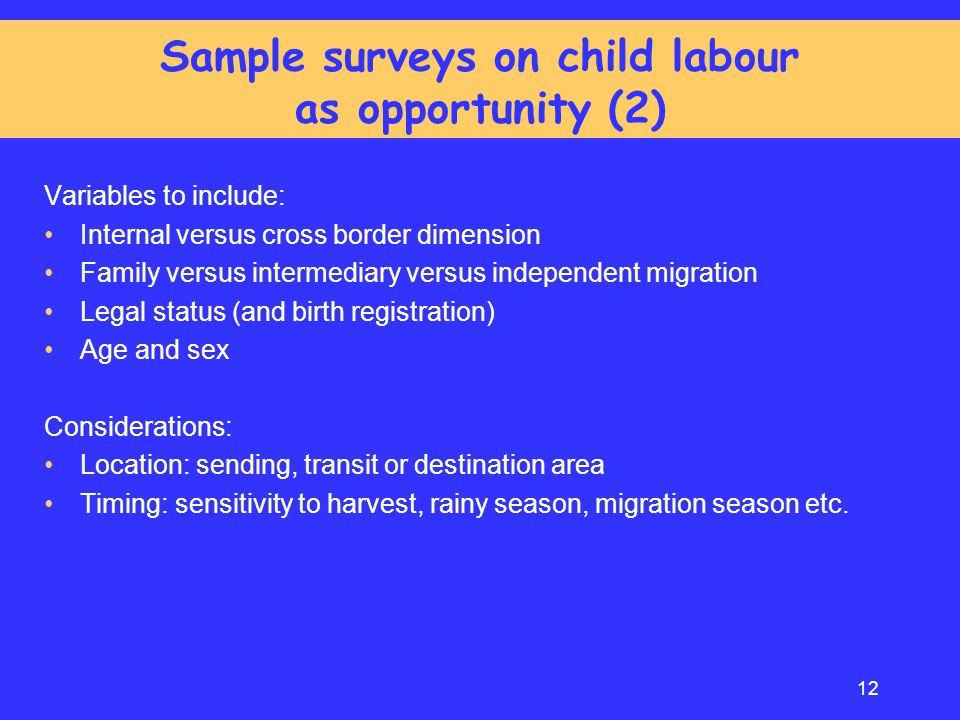 Sample surveys on child labour as opportunity (2)