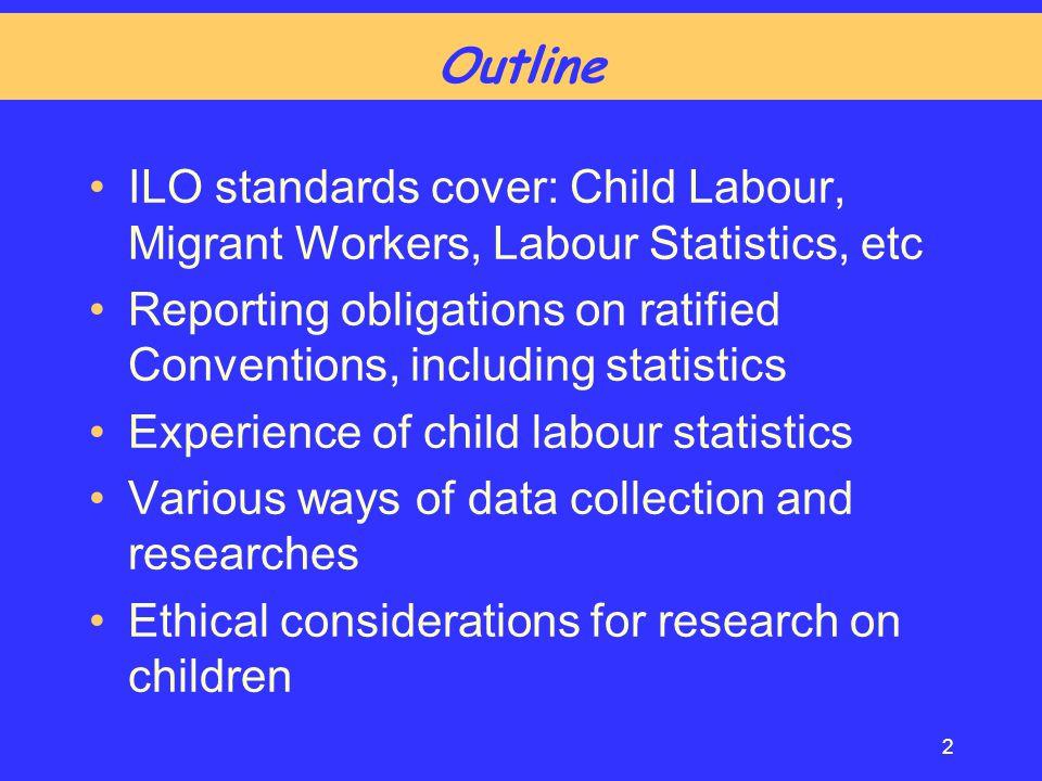 Outline ILO standards cover: Child Labour, Migrant Workers, Labour Statistics, etc.