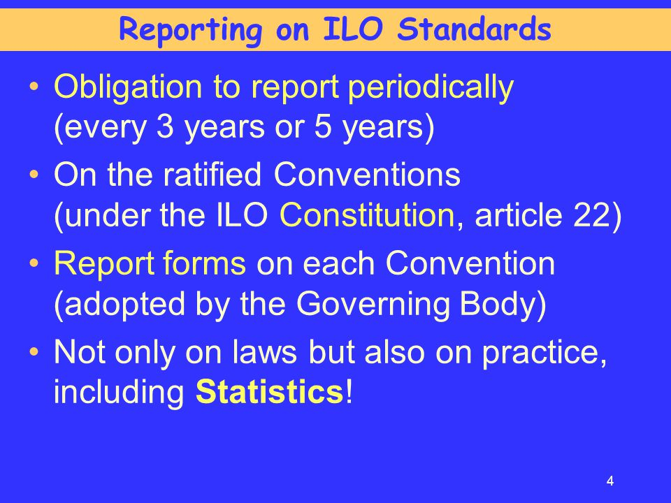 Reporting on ILO Standards