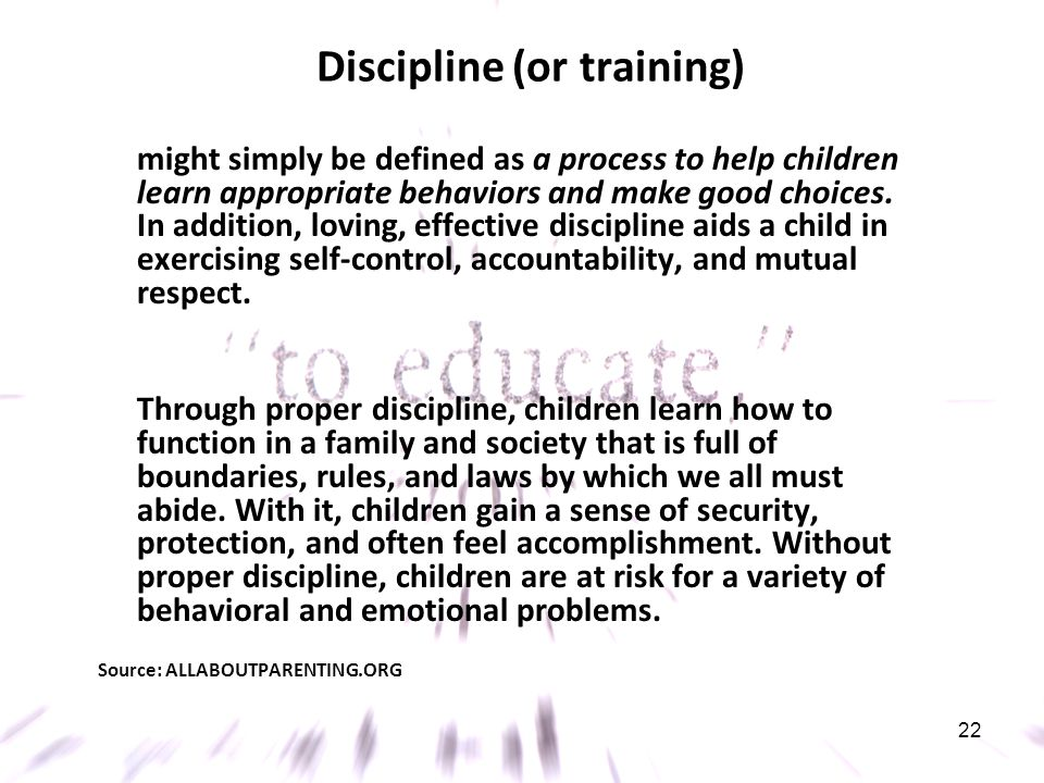 Discipline (or training)