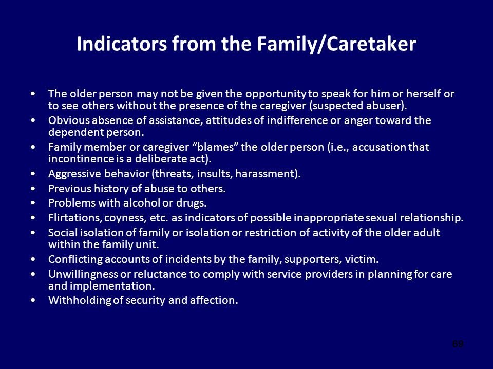 Indicators from the Family/Caretaker