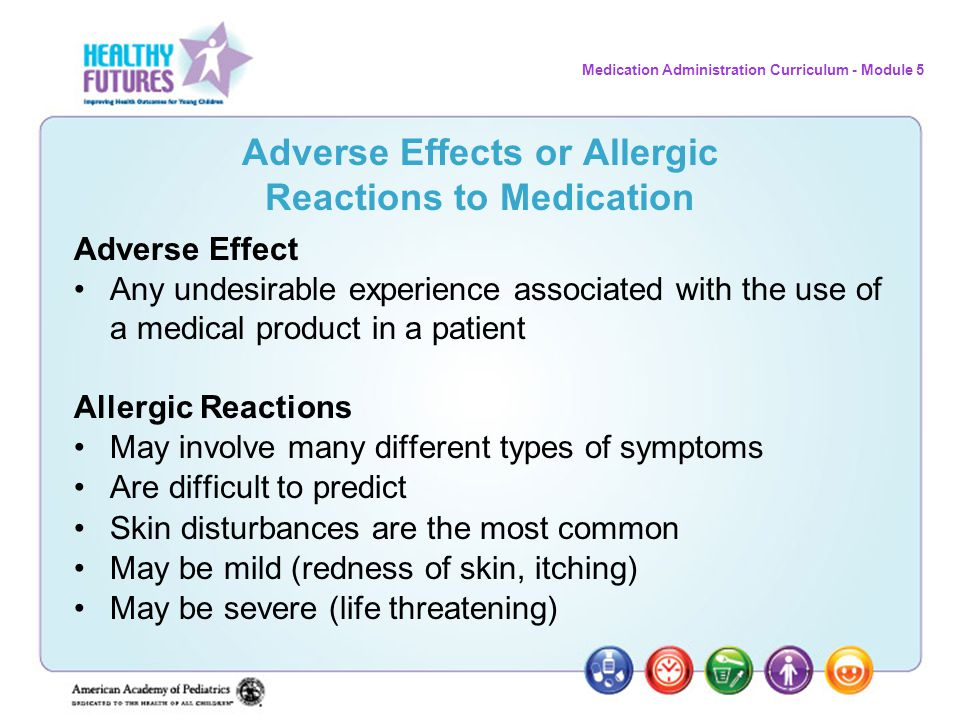 Adverse Effects or Allergic Reactions to Medication