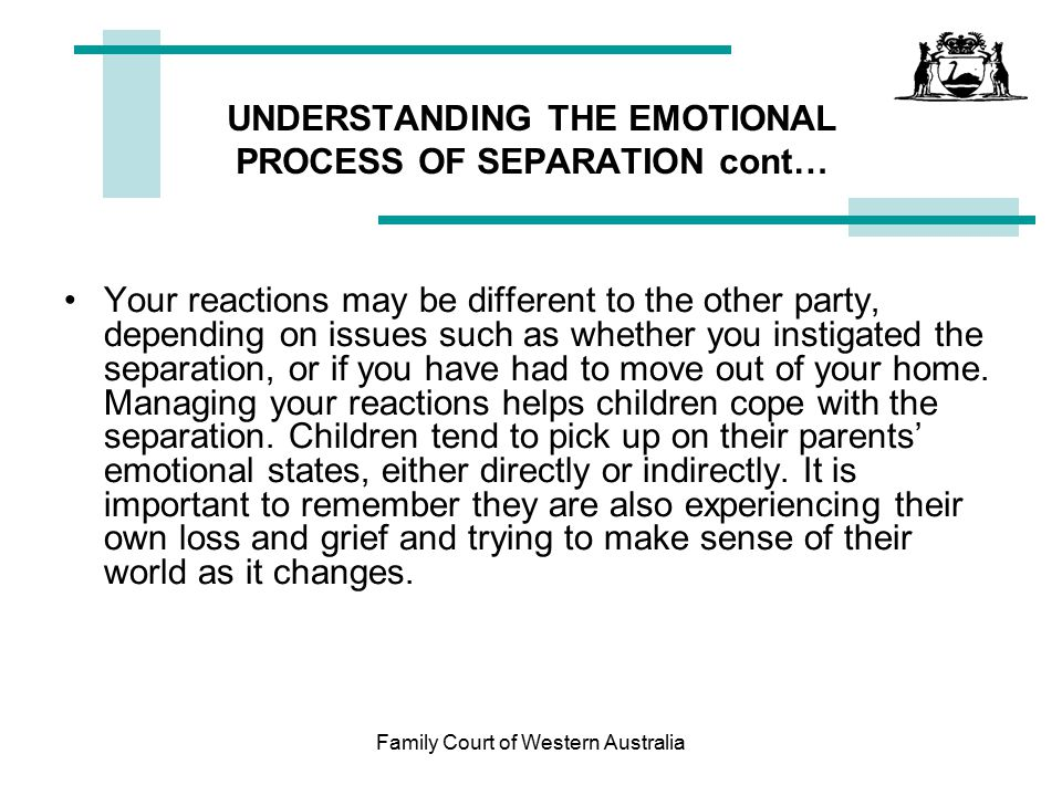 UNDERSTANDING THE EMOTIONAL PROCESS OF SEPARATION cont…