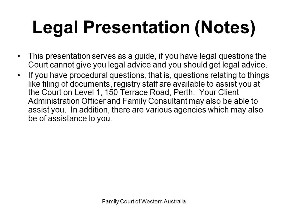 Legal Presentation (Notes)