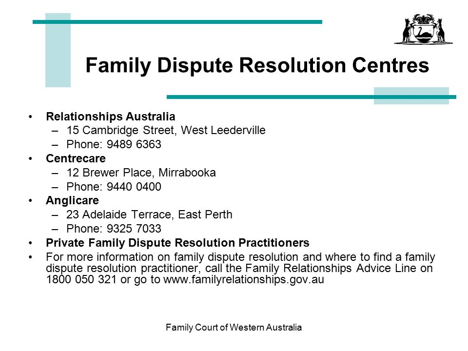 Family Dispute Resolution Centres