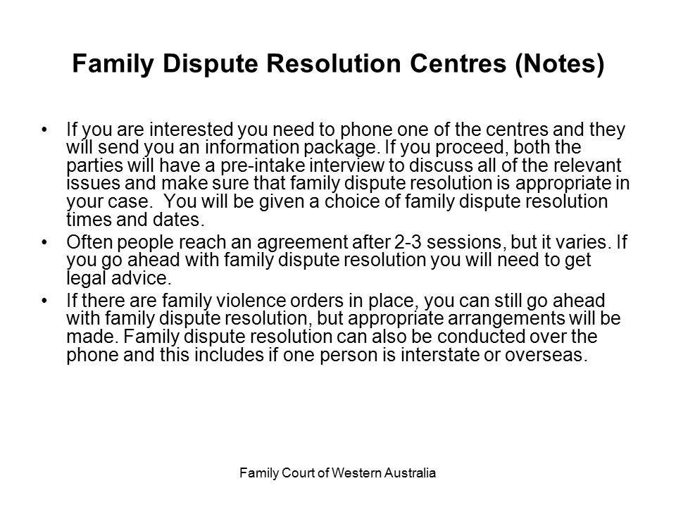 Family Dispute Resolution Centres (Notes)
