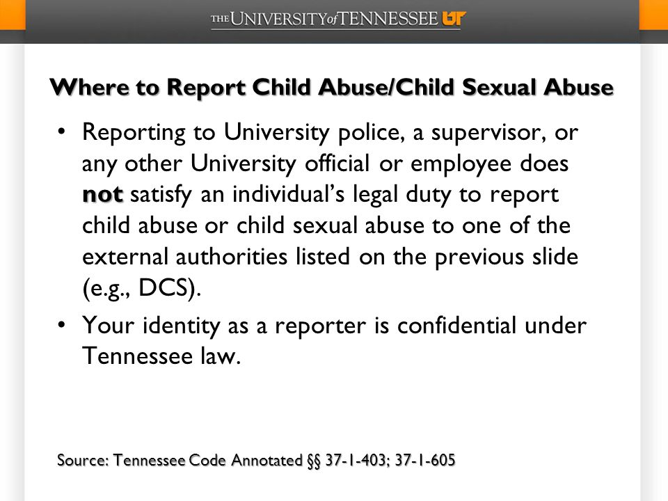 Where to Report Child Abuse/Child Sexual Abuse