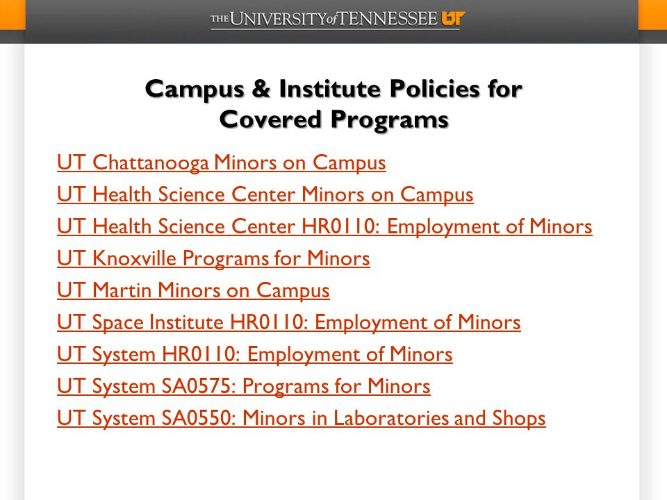 Campus & Institute Policies for Covered Programs