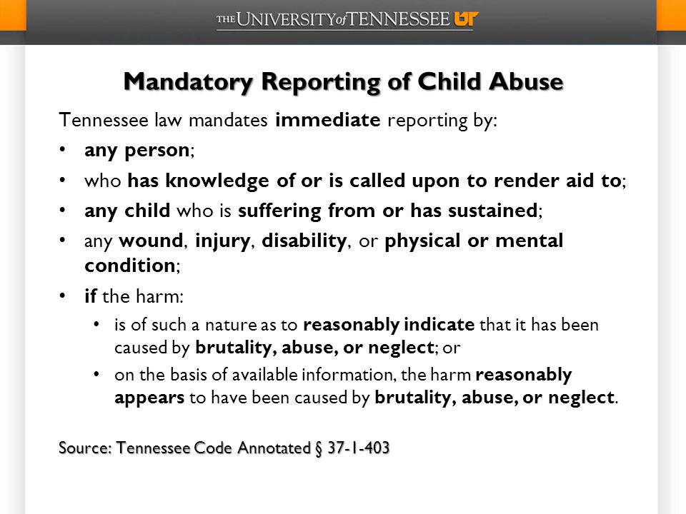 Mandatory Reporting of Child Abuse