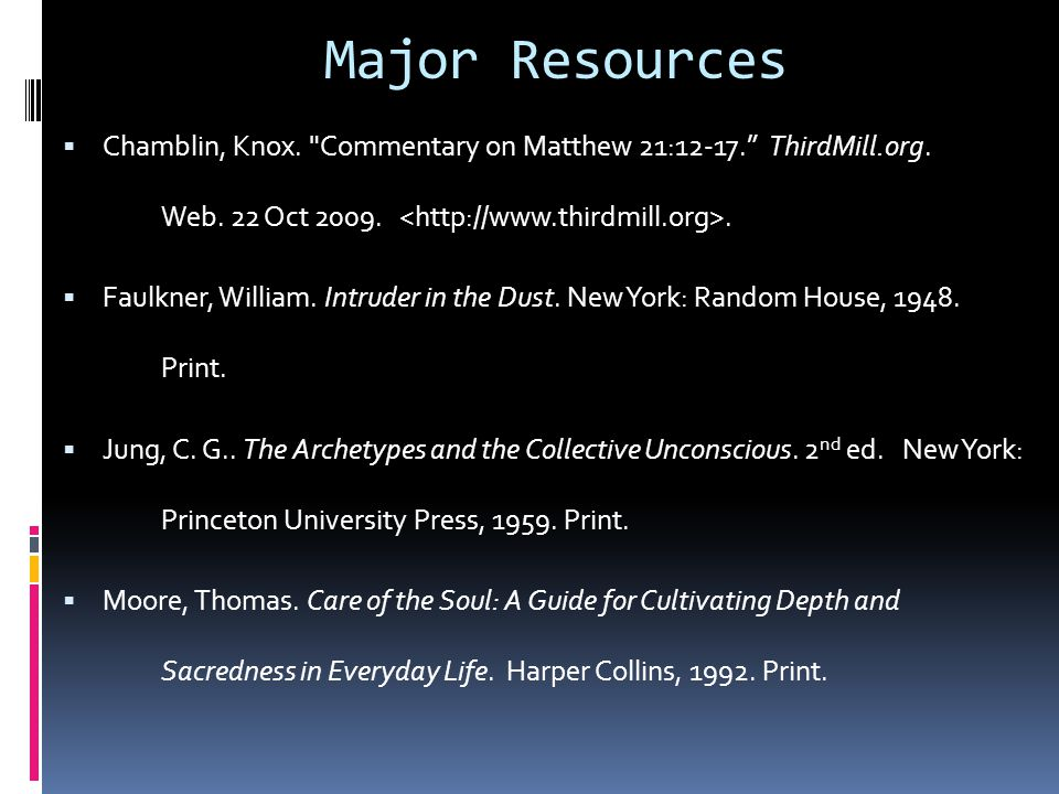 Major Resources Chamblin, Knox. Commentary on Matthew 21:12-17. ThirdMill.org. Web. 22 Oct 2009. <http://www.thirdmill.org>.