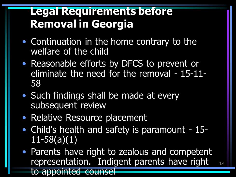 Legal Requirements before Removal in Georgia