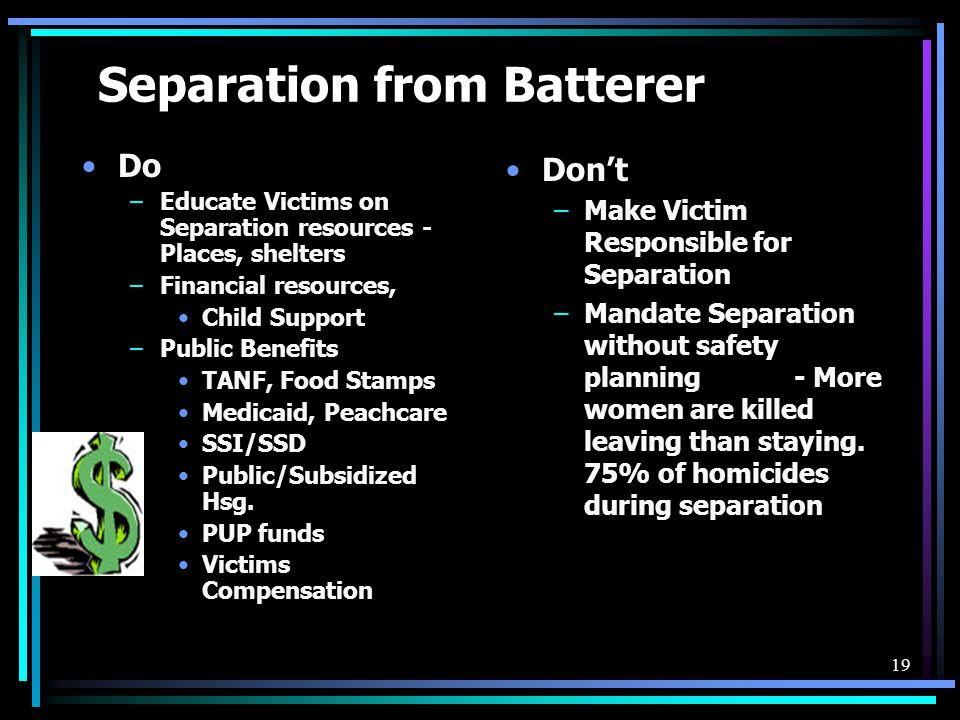 Separation from Batterer